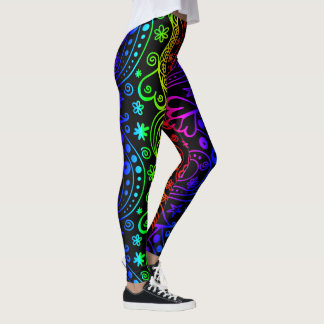 Colorful Neon Abstract Doodles Leggings