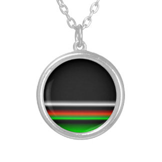 Colorful Neon Background Images Silver Plated Necklace