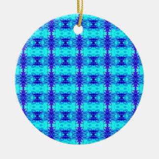 Colorful Neon Blue Royal Blue Tribal Pattern Ceramic Ornament