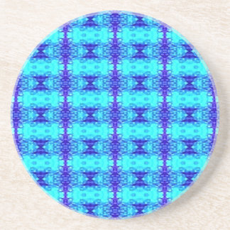 Colorful Neon Blue Royal Blue Tribal Pattern Coaster