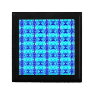 Colorful Neon Blue Royal Blue Tribal Pattern Gift Box