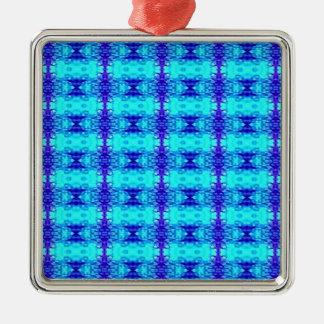 Colorful Neon Blue Royal Blue Tribal Pattern Metal Ornament