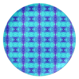 Colorful Neon Blue Royal Blue Tribal Pattern Plate
