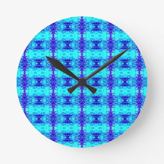 Colorful Neon Blue Royal Blue Tribal Pattern Round Clock