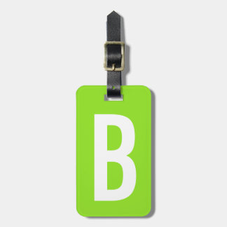 Colorful neon green monogram travel luggage tag