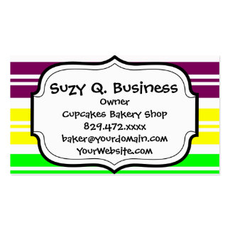 Colorful Neon Rainbow Stripes Vibrant Bold Pattern Business Cards