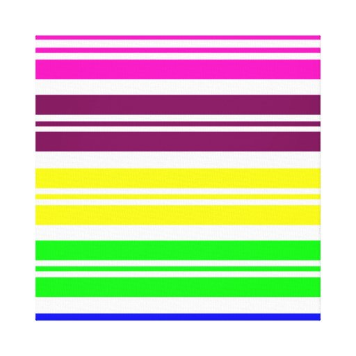 Colorful Neon Rainbow Stripes Vibrant Bold Pattern Gallery Wrap Canvas