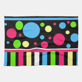 Colorful Neon Stripes Polka Dots Pink Blue Green Kitchen Towel