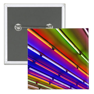 Colorful neon tubes at shop entrance 2 inch square button