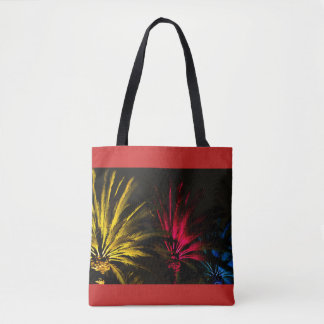 Colorful Night Desert Palm Trees Red Yellow Black Tote Bag