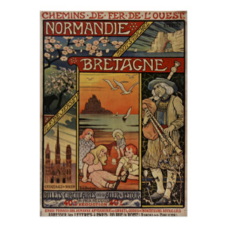 Colorful Normandy and Bretagne Poster