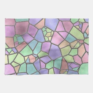 Colorful Nouveau Deco Stained Glass Pattern Kitchen Towel