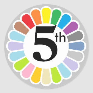 colorful number 5 sticker