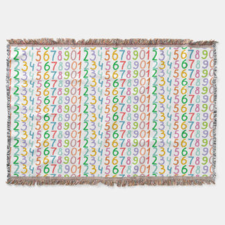 Colorful Numbers Pattern Throw Blanket