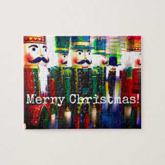 Colorful Nutcracker Soldiers Merry Christmas Jigsaw Puzzle