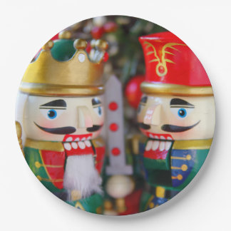 Colorful nutcrackers paper plate