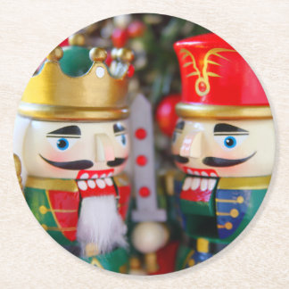 Colorful nutcrackers round paper coaster