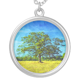 Colorful Oak Tree in a Field Art Silver Plated Necklace