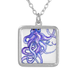 Colorful Octopus Art Silver Plated Necklace