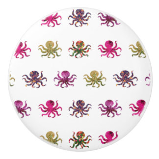Colorful octopus pattern ceramic knob
