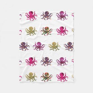 Colorful octopus pattern fleece blanket