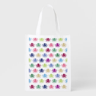 Colorful octopus pattern reusable grocery bag