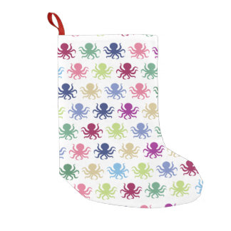 Colorful octopus pattern small christmas stocking
