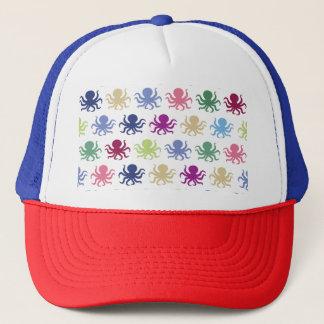 Colorful octopus pattern trucker hat