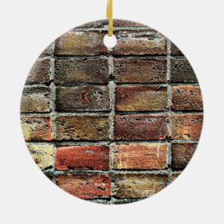 Colorful Old Weathered Stone Wall Texture Round Ceramic Ornament