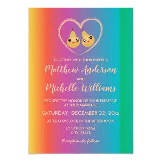 Colorful Ombre Rainbow Cute Wedding Invitation