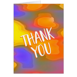 Colorful Orange and Blue Abstract Blank Thank You Card