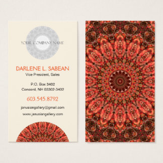 Colorful Orange and Brown Tangerine Kiss Mandala Business Card
