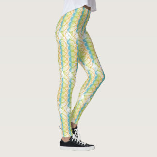 Colorful Orange Blue Green Yellow Swirls Leggings