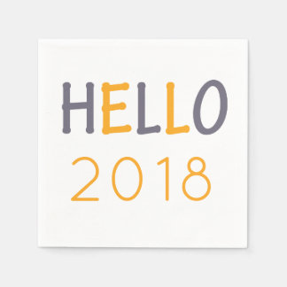 Colorful orange blue New Year party hello 2018 Disposable Napkin