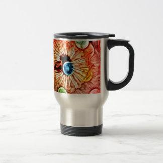 colorful orange glow artdeco dandelion travel mug
