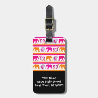 Colorful Orange Hot Pink Elephants Paisley Hearts Luggage Tag