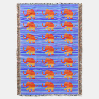 Colorful Orange on Blue Stripes Elephant Pattern Throw Blanket