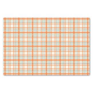Colorful Orange Plaid Tissue Paper