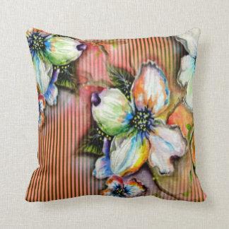 Colorful Orange Stripe Magnolia Pillow