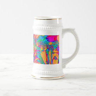 Colorful orange yellow abstract art 18 oz beer stein