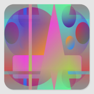 Colorful Original Abstract Square Sticker