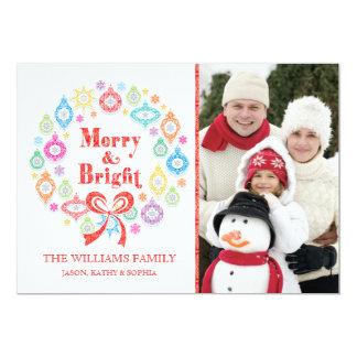 Colorful Ornament Christmas Wreath Photo Card