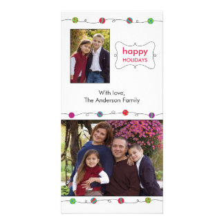 Colorful Ornaments Holiday Photo Card