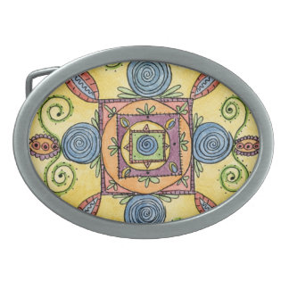 Colorful Oval Mandala Belt Buckle with Silver Rim