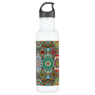 Colorful oval various mandalas floral pattern 710 ml water bottle