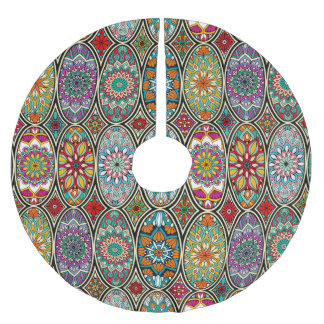 Colorful oval various mandalas floral pattern brushed polyester tree skirt
