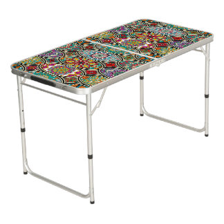 Colorful oval various mandalas floral pattern pong table