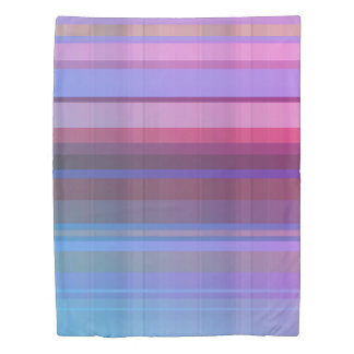 Colorful Overlapping Purple Teal Pink Stripes Duvet Cover
