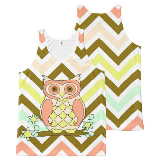 Colorful Owl Against Chevron Background Tank Top