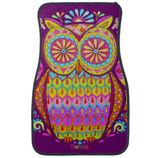 Colorful Owl Car Mats - Front Set of 2 Mats Auto Mat